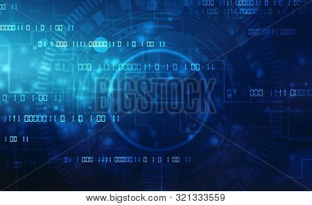 Binary Code Background, Digital Abstract Technology Background, Flowing Number One And Zero Text In