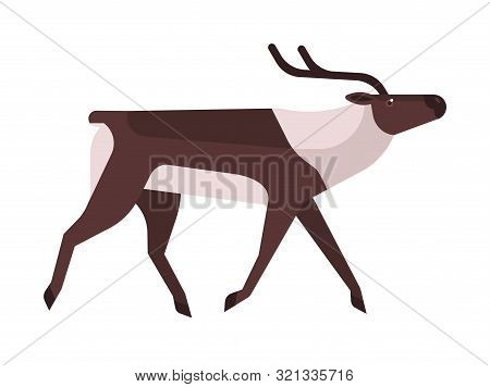 Majestic Deer, Reindeer Flat Vector Illustration. Wild Stag, Wapiti Minimalistic Sign. Forest Fauna,