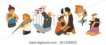 Children With Pets Flat Vector Illustrations Set. Happy Domestic Animals Owners Cartoon Characters P