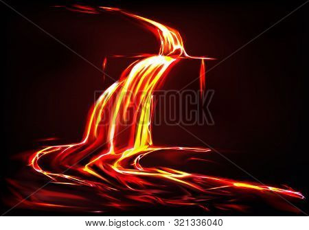 Realistic Background With Lava River, Flow Of Liquid Fire In Dark. Eruption Of Volcano, Spewing Of F