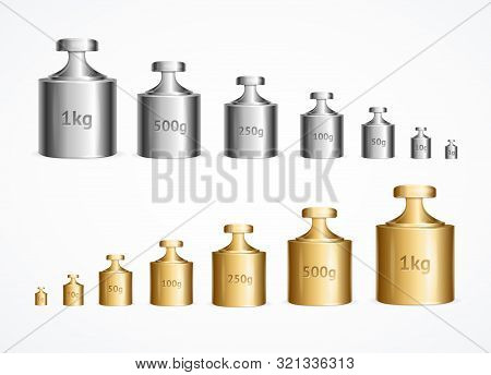 Realistic Detailed 3d Calibration Weight Laboratory Set. Vector Illustration Of Instrument For Measu