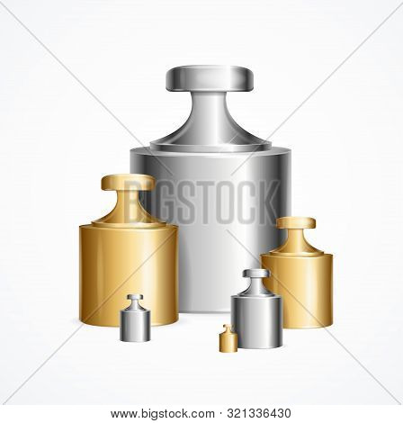 Realistic Detailed 3d Calibration Weight Laboratory Set Different Size Accurate Concept. Vector Illu