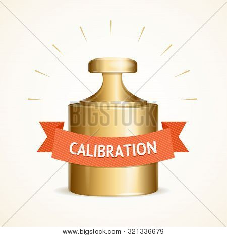Realistic Detailed 3d Calibration Weight And Red Ribbon With Inscription For Web And App. Vector Ill