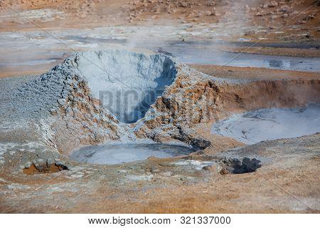 Fumarole Field In Namafjall Geothermal Area, Iceland