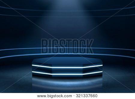 Pentagon Shape, Empty Stage For Product Presentation, Fashion Show Podium, Pedestal In Nightclub Dan