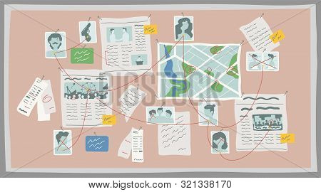 Crime Research Board Flat Vector Illustration. Crime Investigation, Mystery Solving Concept. Police