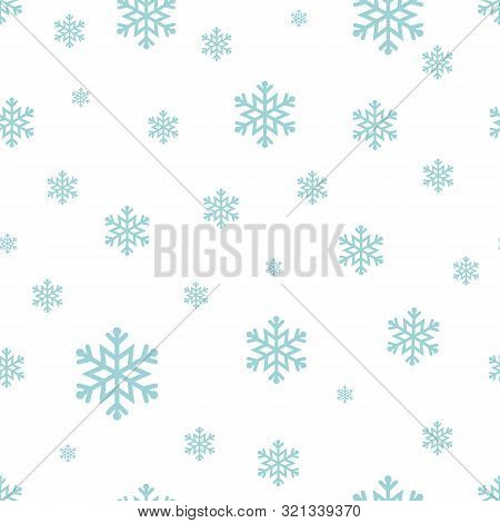 Snowflake Seamless Pattern Blue Snow On White Background. Merry Christmas Holiday New Year Vector