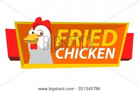Signboard With Chicken And Stripes Vector, Isolated Hen And Inscription. Friend Meat Of Chick, Poult