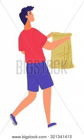Man Holding Bag, Agricultural Worker Carrying Sack. Harvester With Burlap, Person Going Outdoor, Rur