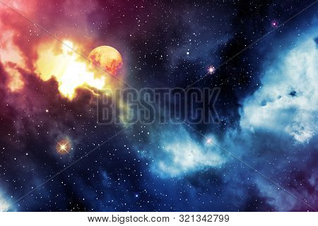 Night Sky With Stars And Full Moon. Abstract Sky Background.