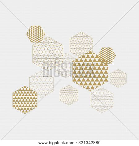Abstract Geometric Composition With Decorative Hexagons Vector.