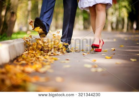 The Couple Walks Through The Park In The Autumn And Throws Their Fallen Leaves Into The Air With The