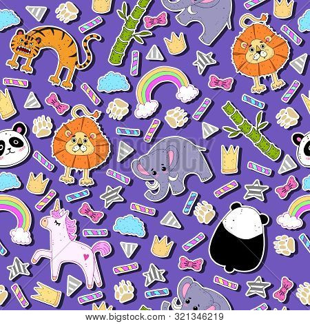 Funny Colorful Pattern With Animals, Decorative Elements On A Neutral Background. Theme For Children