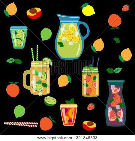Vector Background With Different Types Of Lemonade A Flat Jar, A Dispenser For Drinks, A Bottle And