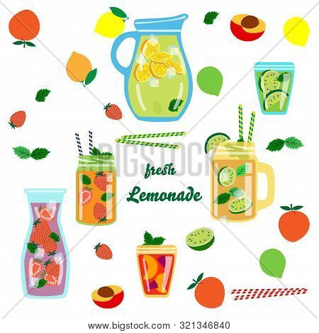 Vector Background With Different Types Of Lemonade I Repeat A Flat Jar, A Dispenser For Drinks, A Bo