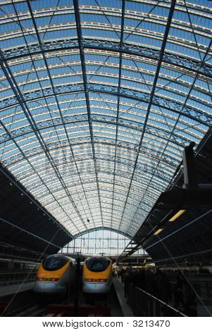 Eurostar Terminal'S Glass Roof In San Pancras Station, London