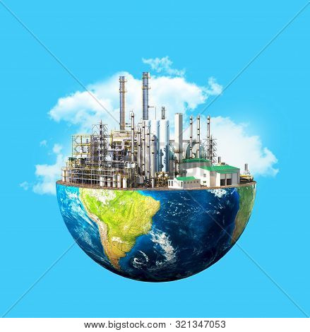 Environmental Pollution Concept. Plant On Planet Earth Isolated On A Blue Background. 3d Illustratio