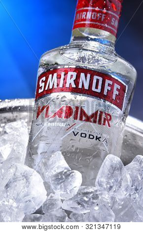 Poznan, Poland - Sep 5, 2019: Bottle Of Smirnoff, A Brand Of Vodka Produced By The British Company D