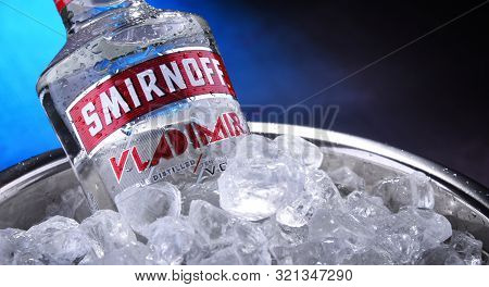 Bottle Of Smirnoff Red Label Vodka In Bucket With Crushed Ice
