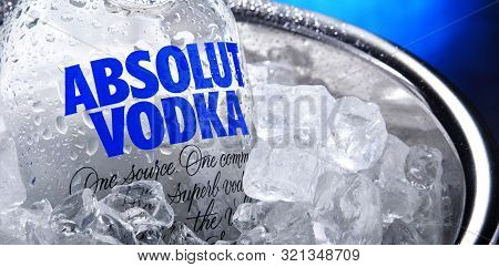 Bottle Of Absolut Vodka In Bucket With Crushed Ice