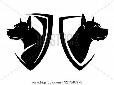 Great Dane Head And Heraldic Shield - Guard Dog Insignia Badge Black And White Vector Design Set