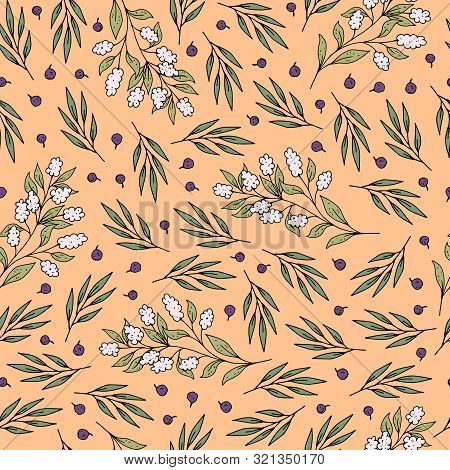 Delicate Seamless Romantic Pattern With Cute Flowers And Twigs. Vector. Ornament. Hand Drawing