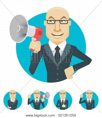 Vector Illustration Of Businessman Emotions. Businessman With Megaphone. Businessman Thinking. Busin