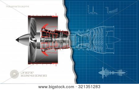 Jet Engine Of Airplane In Outline Style. Industrial Aerospase Blueprint. 3d Drawing Of Plane Motor.
