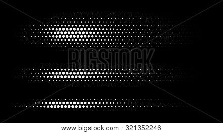 Set Of Halftone Dots Gradient Pattern Texture Isolated On White Background. Straight Dotted Spots Us