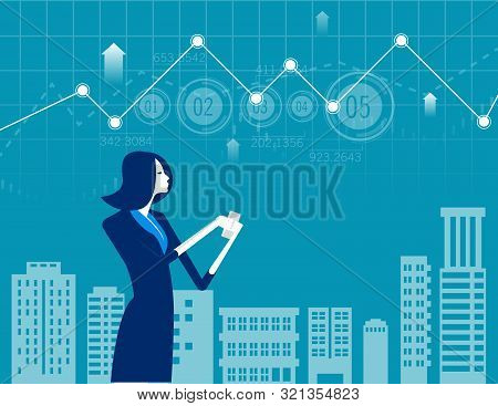 Businesswoman Working Online On Smartphone. Concept Business Vector Illustration. Technology With Sm