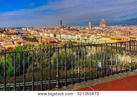 Florence, Italy Viewpoint At Piazzale Michelangelo View, Duomo Dome And Old Town