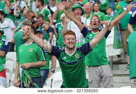 Lyon, France - June 16, 2016: Northern Irish Fans Show Their Support During The Uefa Euro 2016 Game