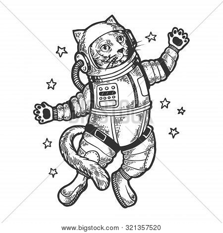 Cat Astronaut Spaceman In Space Sketch Engraving Vector Illustration. Tee Shirt Apparel Print Design