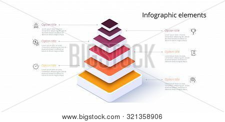 Business Pyramid Chart Infographics With 6 Steps. Pyramidal Stages Graph Elements. Company Hiararchy
