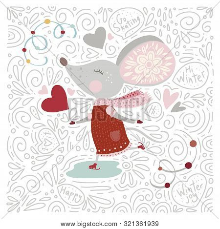 Chirstmas Funny Cartoon Hand Drawn Mouse Card In A Flat And Doodle Style And Text Quotes. Winter Vec