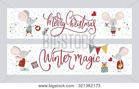 Chirstmas Funny Cartoon Mouse Poster Set In A Flat Style. Winter Vector Long Banner Collection With