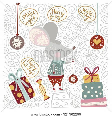 Chirstmas Funny Cartoon Hand Drawn Mouse Card In A Flat And Doodle Style And Quotes. Winter Vector P