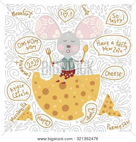 Chirstmas Funny Cartoon Hand Drawn Mouse With Cheese And Text Quotes Card In A Flat And Doodle Style