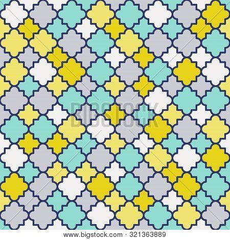 Traditional Quatrefoil Lattice Pattern. Colorful Quatrefoil Shapes, Retro Colors - Mint, Mustard Yel