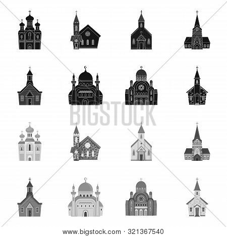 Vector Design Of Cult And Temple Logo. Collection Of Cult And Parish Vector Icon For Stock.