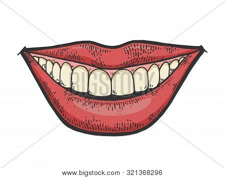 Female Smile Mouth Color Sketch Engraving Vector Illustration. Tee Shirt Apparel Print Design. Scrat