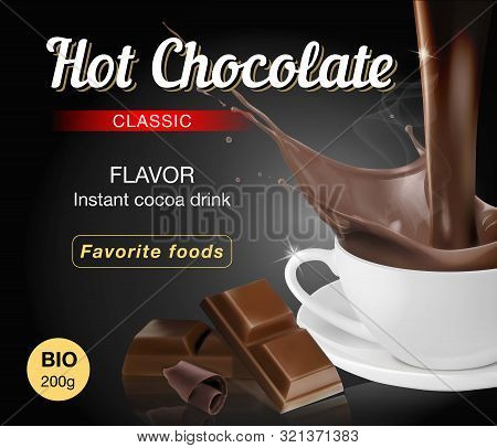 Hot Chocolate In A White Cup. Pieces Of Dark Chocolate. Text Composition For Packaging. Vector Illus