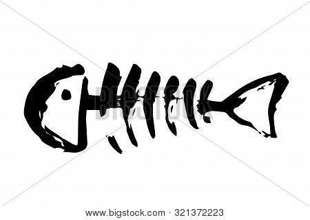 Fish Bone Skeleton Hand Painted With Ink Brush