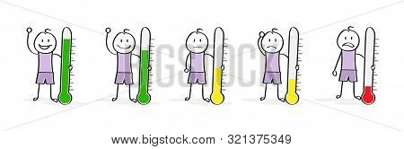 Emotions And Mood. A Set Of Cartoon Characters With A Thermometer. Flat Design.