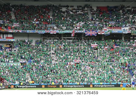 Lyon, France - June 16, 2016: Tribunes Of Stade De Lyon Stadium Crowded With Northern Ireland Fans D