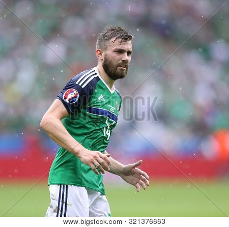 Lyon, France - June 16, 2016: Stuart Dallas Of Northern Ireland In Action During Uefa Euro 2016 Game