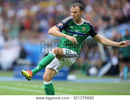 Lyon, France - June 16, 2016: Jonny Evans Of Northern Ireland In Action During Uefa Euro 2016 Game A