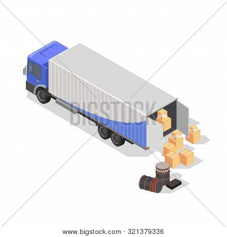 Drums, Barrels, Cardboard Boxes Or Wooden Crates Are Next To Lorry For Loading And Transportation. R