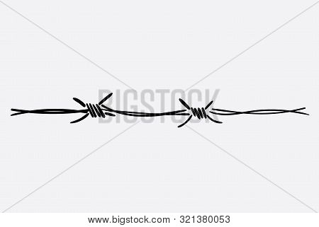 The Logo Of The Barbed Wire. Black And White Drawing. Vector Illustration Of A Barbed Wire. The Holo
