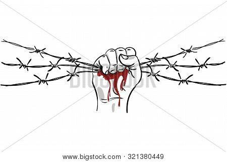 Barbed Wire Clenched In Fist. Illustration On The Theme Of Dictatorship And The Holocaust. Console C